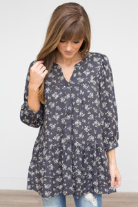Floral Button Up Blouse - Charcoal/Yellow