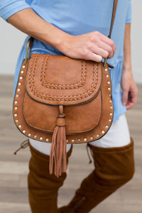 Braided Tassel Front Crossbody - Brown