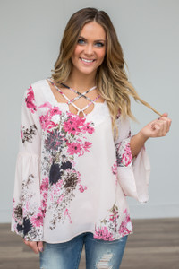 Floral Bell Sleeve Blouse - Blush/Pink