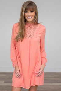 Mock Neck Lace Shift Dress - Coral