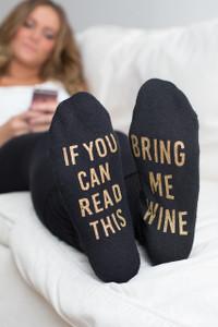 Bring Me Wine Socks - Black/Gold