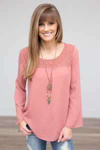 Crochet Lace Bell Sleeve Blouse - Salmon