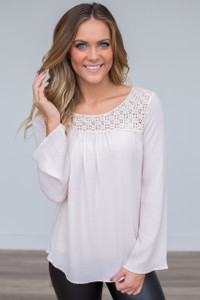 Crochet Lace Bell Sleeve Blouse - Pale Pink