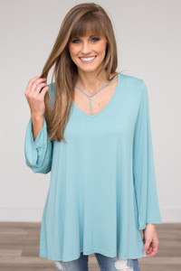 T-Strap Detail Bell Sleeve Tunic - Light Blue - FINAL SALE
