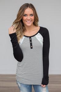 Lace Detail Striped Raglan Top - Black/White