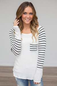 Striped Sleeve Thermal Top - Ivory/Black - FINAL SALE