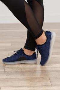 In a Flash Knit Sneaker - Navy/Black