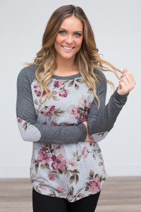 Floral Contrast Elbow Patch Top - Charcoal
