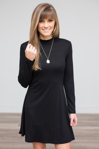 Long Sleeve Mock Neck Dress - Black
