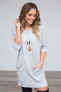 Pocket Front Sweatshirt Dress - Heather Grey