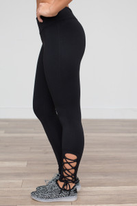 Lace Up Work Out Leggings - Black