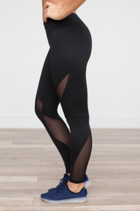 Mesh Insert Work Out Leggings - Black