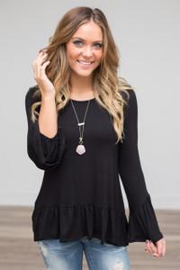Solid Ruffle Sleeve Tunic - Black