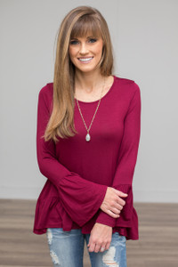 Solid Ruffle Sleeve Tunic - Burgundy - FINAL SALE