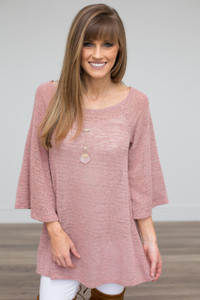 Butterfly Sleeve Sweater - Rose