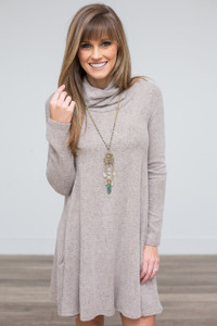 Soft Knit Turtleneck Dress - Taupe