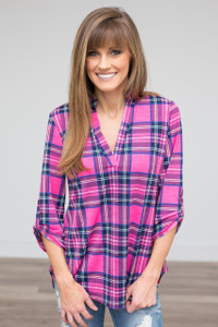 Plaid V Neck High Low Top - Fuchsia - FINAL SALE