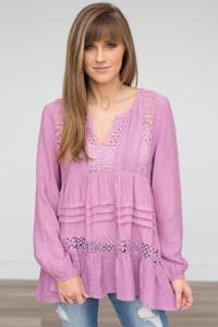 Boho Lace Detail Blouse - Mauve