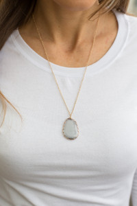 Stone Pendant Necklace - Grey