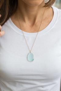 Stone Pendant Necklace - Aqua