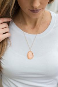 Stone Pendant Necklace - Peach