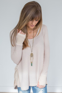 Scoop Neck Thermal Tunic - Cream