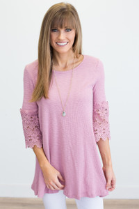 Lace Bell Sleeve Tunic - Mauve