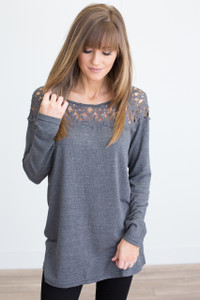 Long Sleeve Lace Top Tunic - Charcoal - FINAL SALE