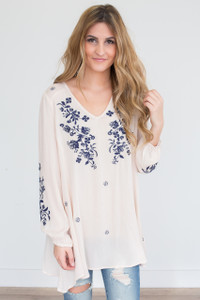 Floral Embroidered Tunic - Cream/Navy