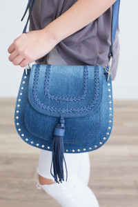 Braided Tassel Front Crossbody - Denim - FINAL SALE