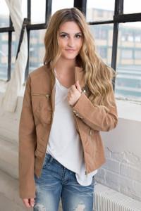 Faux Suede Fur Lined Jacket - Camel