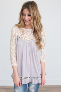 Lace Sleeve Ruffle Bottom Top - Lavender