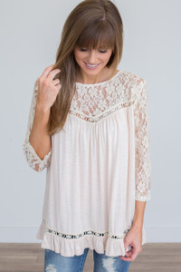 Lace Sleeve Ruffle Bottom Top - Pale Peach