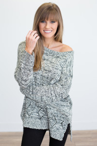 High Low Pocket Sweater - Black/Ivory