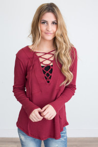 Lace Up Front Top - Burgundy