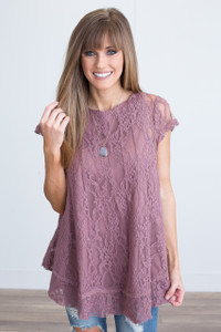 Short Sleeve Lace Tunic - Mauve