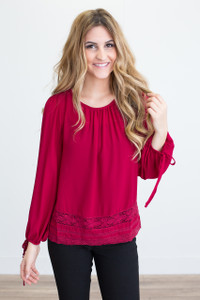 Tie Sleeve Lace Blouse - Wine