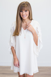 Ruffle Sleeve V Neck Dress - Ivory