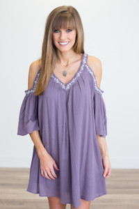 Embroidered Cold Shoulder Dress - Dusty Purple