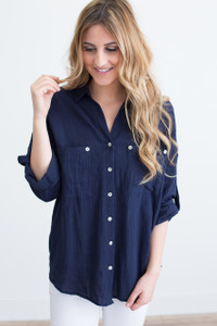 Button Down Roll Tab Top - Navy - FINAL SALE