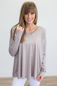 Long Sleeve V Neck Tunic - Taupe - FINAL SALE