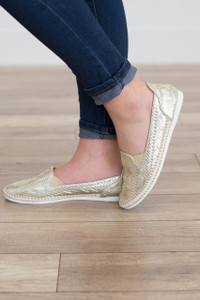 Flat Woven Loafer - Gold - FINAL SALE