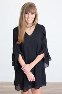 Ruffle Sleeve V Neck Dress - Black - FINAL SALE