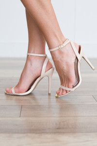 Ankle Strap Heels - Nude - FINAL SALE