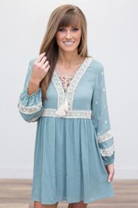 Lace Detail Peasant Dress - Dusty Blue - FINAL SALE
