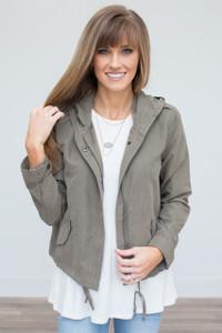 Lightweight Hooded Jacket - Olive