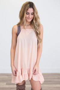 Ruffle Hem Slip/dress extender   - Peach