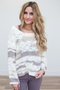 Cutout Back Striped Sweater - Ivory