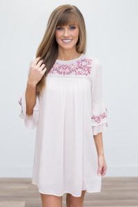 Ruffle Bell Sleeve Dress -Soft Pink - FINAL SALE