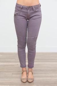 Zipper Detail Moto Pants - Midnight